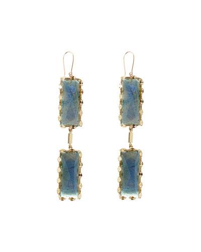 Double Crystal Labradorite Drop Earrings