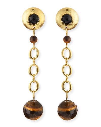 Black Onyx & Tiger's Eye Galaxy Earrings