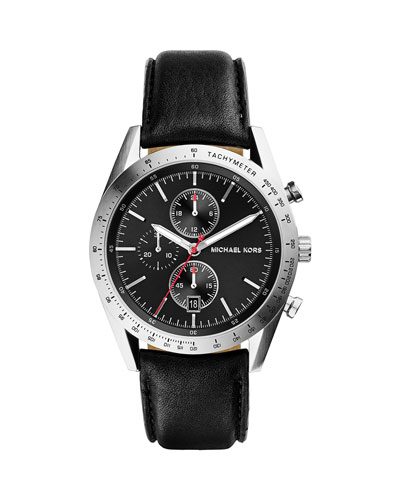 Leather Accelerator Chronograph Watch