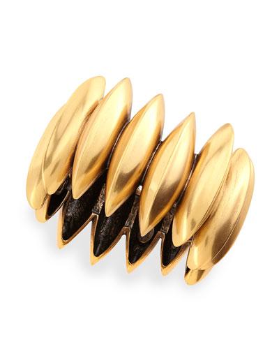 Golden Ridged Disc Bracelet