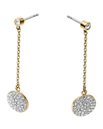 Golden/Silver Pave Disc-Drop Earrings