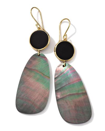 18K Gold Ondine 2-Drop Earrings in Onyx/Black Shell
