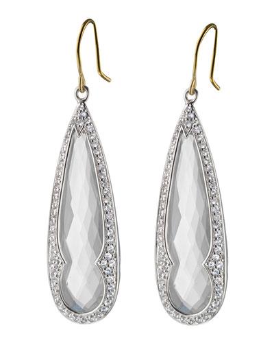 Rock Crystal & White Sapphire Drop Earrings
