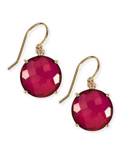 14k Yellow Gold Wire Drop Earrings in Crimson Topaz