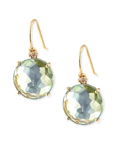 14k Yellow Gold Wire Drop Earrings in Green Topaz