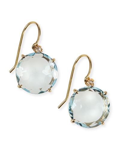 14k Yellow Gold Wire Drop Earrings in Blue Topaz