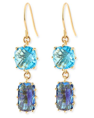 14k Yellow Gold Wire Double-Drop Earrings in Blue Topaz