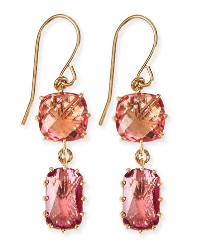 14k Yellow Gold Wire Double-Drop Earrings in Salmon/Pink Topaz
