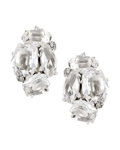 Clear Quartz & Diamond Cluster Clip Earrings