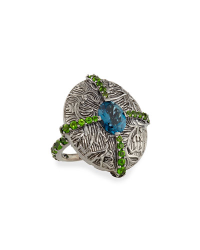 Engraved Silver Cross Ring with Topaz & Chrome Diopside