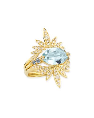 3-in-1 Convertible London Blue Topaz & Diamond Ring