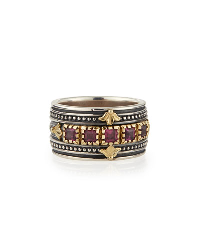 Silver & 18k Gold Rhodolite Band Ring