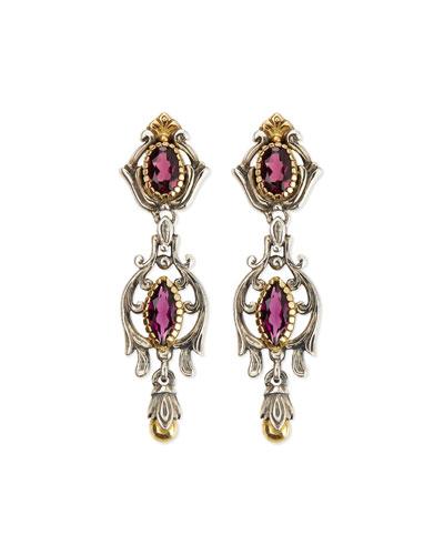 Silver & 18k Gold Rhodolite Dangle Earrings