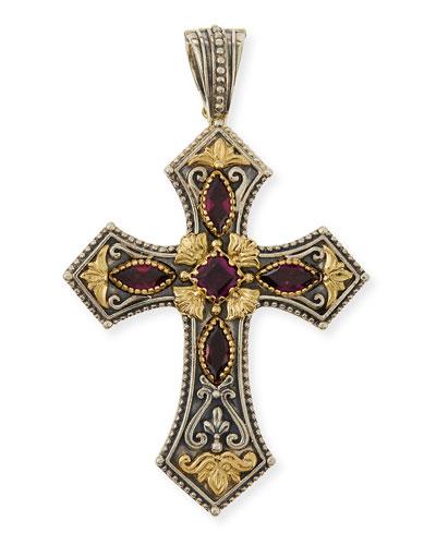 Silver & 18k Rhodolite Cross Pendant