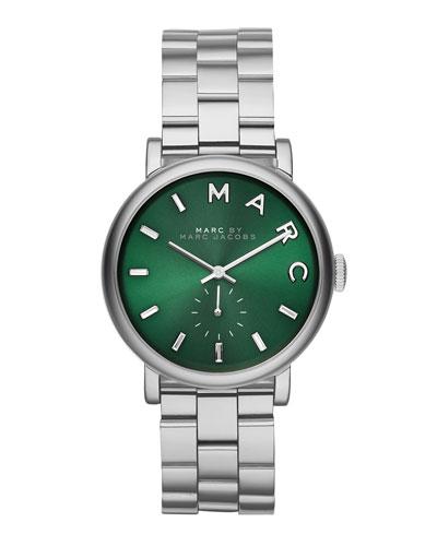 36mm Baker Bracelet Watch, Green/Steel