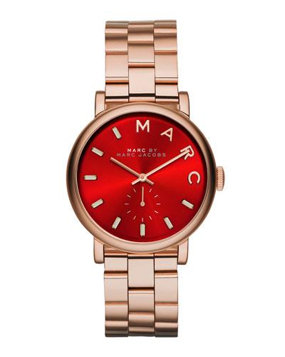 36mm Baker Bracelet Watch, Rose/Red