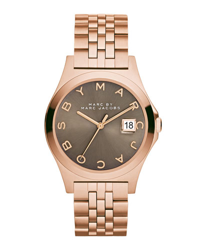 36mm The Slim Bracelet Watch, Rose/Dirty Martini