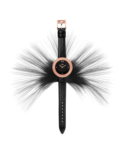 Fendi My Way Watch with Removable Fur Glamy, Black Dial
