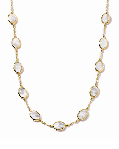 Polished Rock Candy 18k Gold Confetti Necklace in Mother-of-Pearl, 16