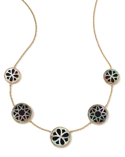 18K Gold Polished Rock Candy Cutout Stone 5-Station Necklace in Phantom, ...
