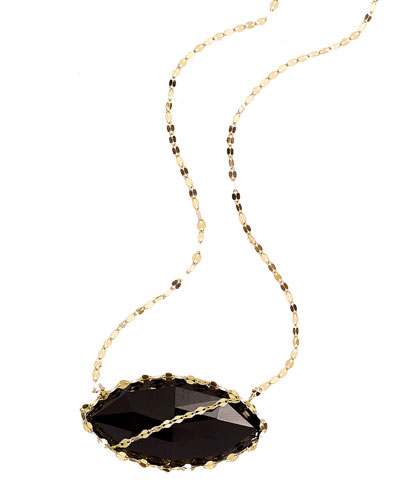 Noir 14k Gold Necklace with Marquise-Cut Onyx Pendant