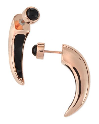 Onyx Inlay Horn Earrings