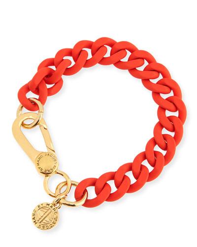Rubber Curb Chain Bracelet, Orange