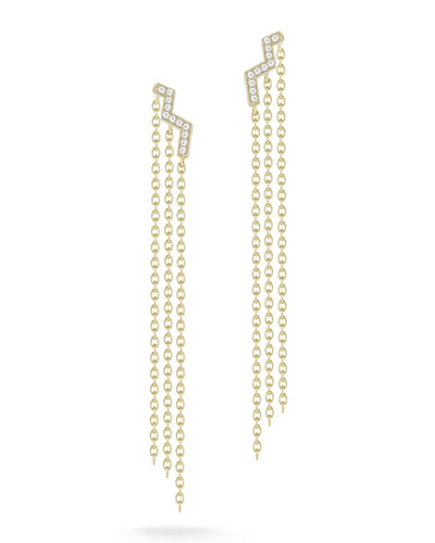 Erte White Topaz Chain-Drop Earrings