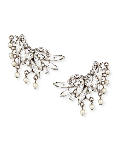 Clarissa Crystal & Pearly Clip Earrings