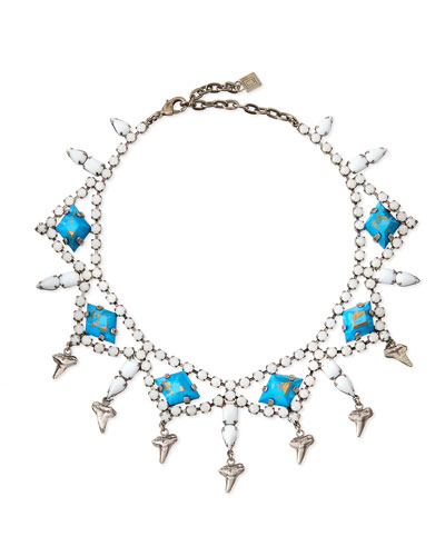 Dane Shark-Tooth Crystal Collar Necklace