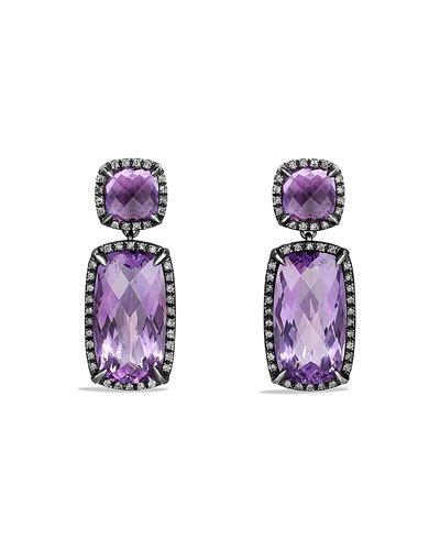 Chatelaine Drop Earrings with Amethyst and Gray Diamonds