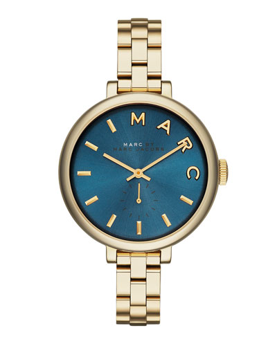 36mm Baker Skinny Bracelet Watch, Golden/Blue