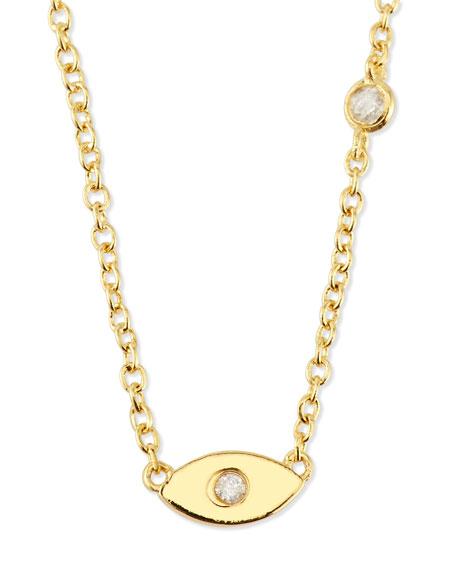 shy by se evil eye pendant bezel diamond necklace. Black Bedroom Furniture Sets. Home Design Ideas