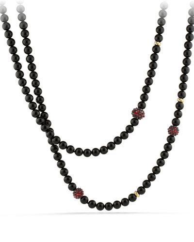Ostera Necklace with Black Onyx, Garnet and 18k Gold