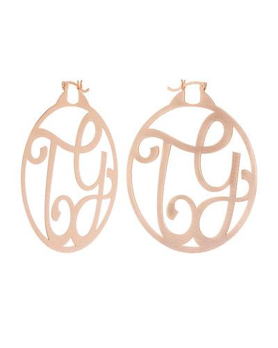 Monogram Large Signature Hoop Earrings, Rose Gold Vermeil