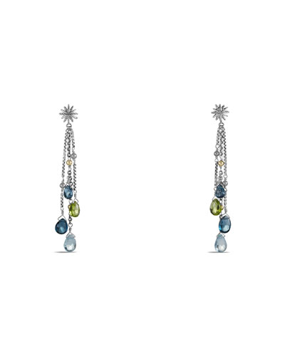 Earrings with Hampton Blue Topaz, Blue Topaz, Peridot, and Gold