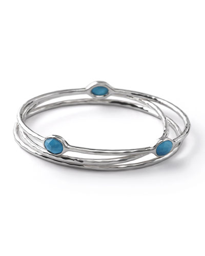 Sterling Silver Bangle Set in Turquoise
