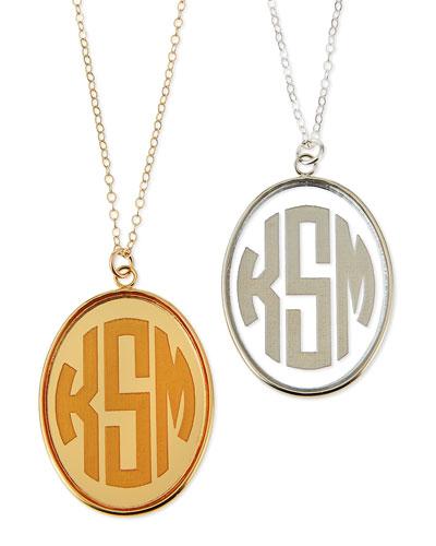 Vineyard Extra Large Acrylic Block Monogram Pendant Necklace