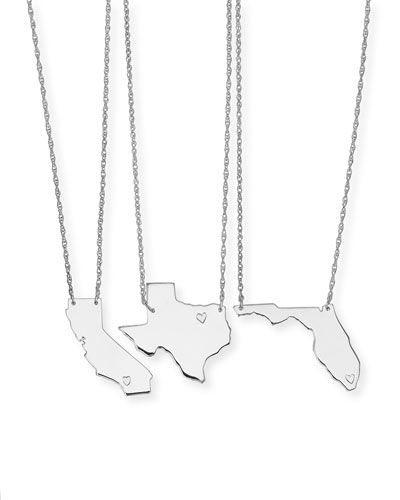 Personalized State Pendant Necklace, Silver, Alabama-Mississippi