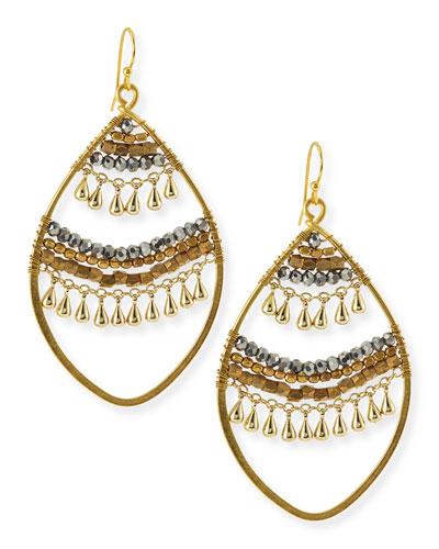 Open Beaded Crystal Earrings, Golden
