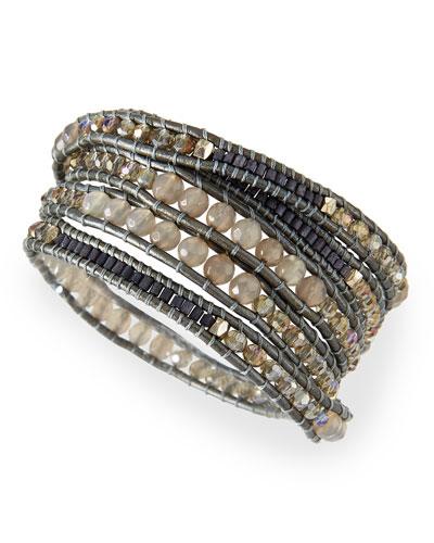 Crystal & Agate Beaded Wrap Bracelet
