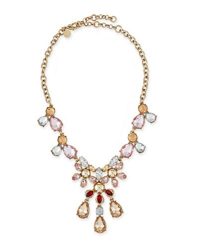 Golden Crystal Statement Necklace
