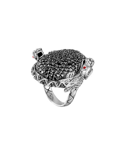 Double Dragon Head Ring with Black Sapphire