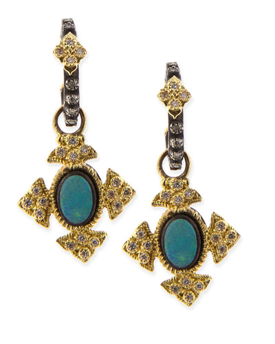 Petite Cravelli Cross Earrings with Opals