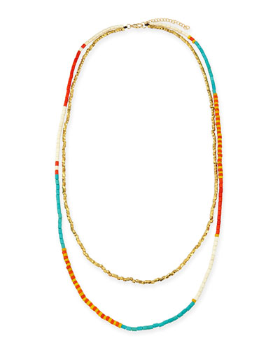 Beaded Double-Strand Necklace, Turquoise/Orange