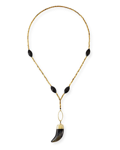 Beaded Horn-Pendant Necklace, Black