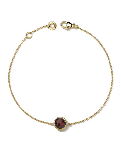 18k Gold Lollipop Bracelet in Garnet