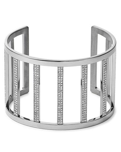 Wide Pave Bar Cuff, Silver Color