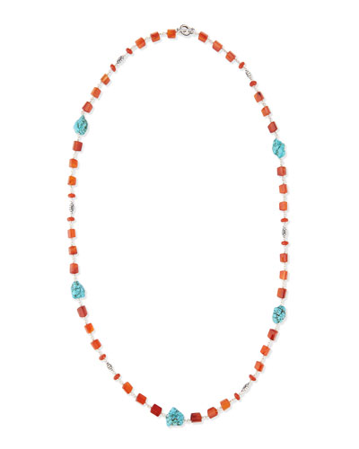 "Long Turquoise-Station Beaded Necklace, 42""L"