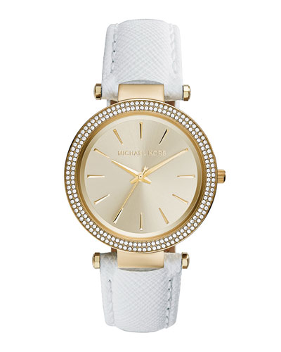 Darci Leather Glitz Watch, White
